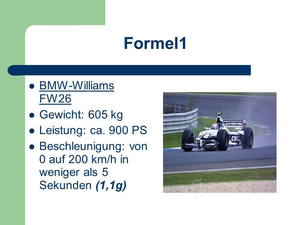 Formel1 BMW-Williams FW26 Gewicht: 605 kg Leistung: ca. 900 PS