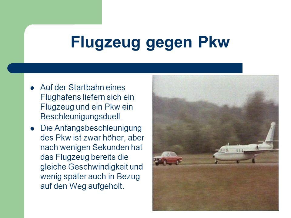 Flugzeug gegen Pkw Auf der Startbahn eines Flughafens liefern sich ein Flugzeug und ein Pkw ein Beschleunigungsduell.