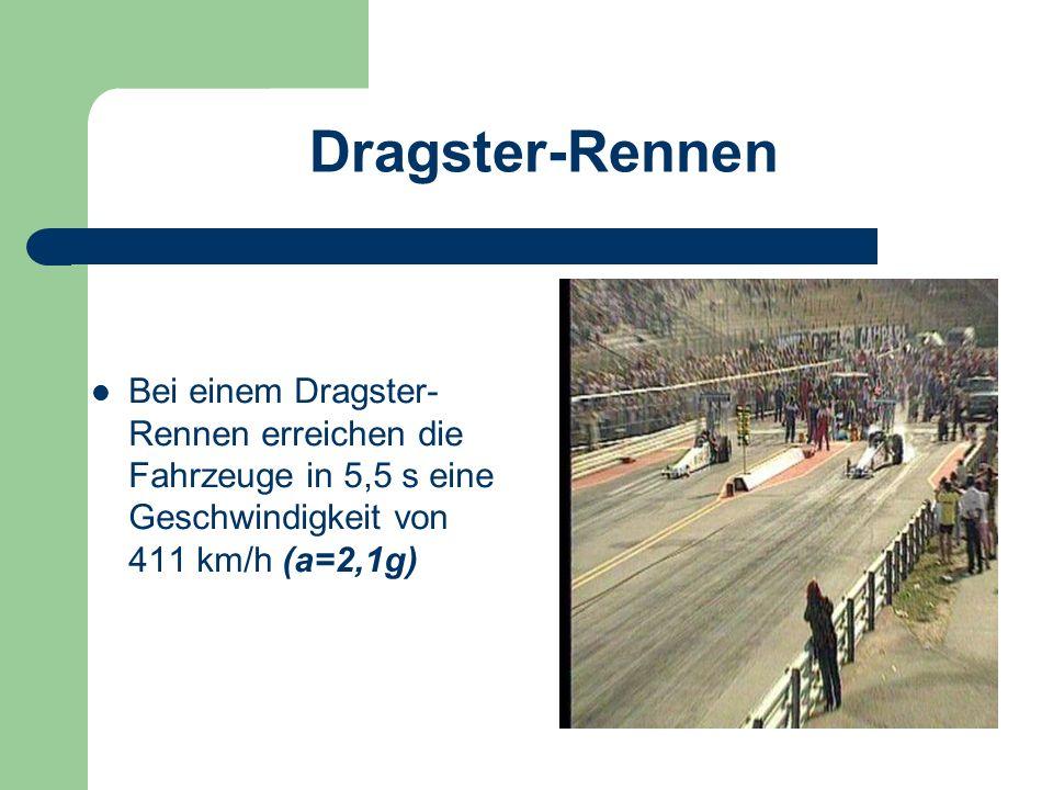 Dragster-Rennen Bei einem Dragster-Rennen erreichen die Fahrzeuge in 5,5 s eine Geschwindigkeit von 411 km/h (a=2,1g)