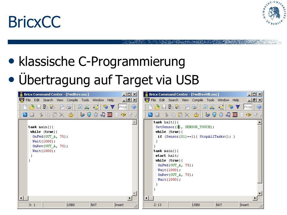 BricxCC klassische C-Programmierung Übertragung auf Target via USB