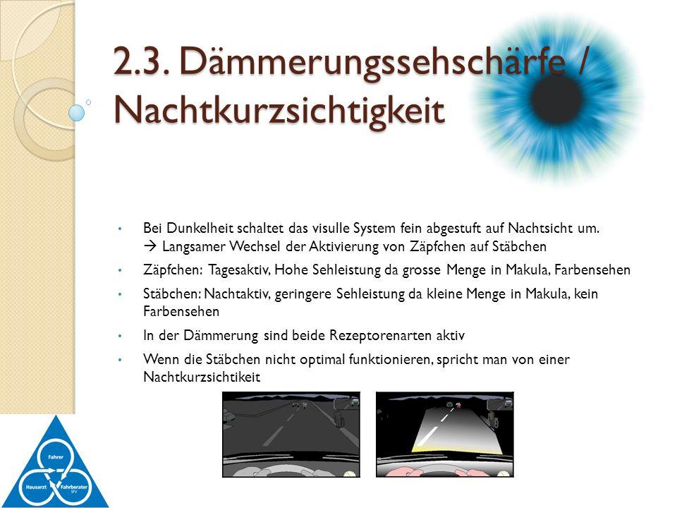 2.3. Dämmerungssehschärfe / Nachtkurzsichtigkeit