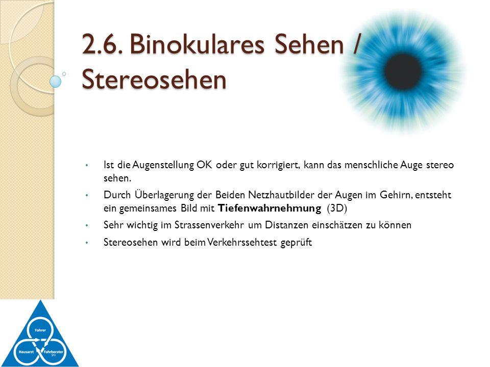 2.6. Binokulares Sehen / Stereosehen