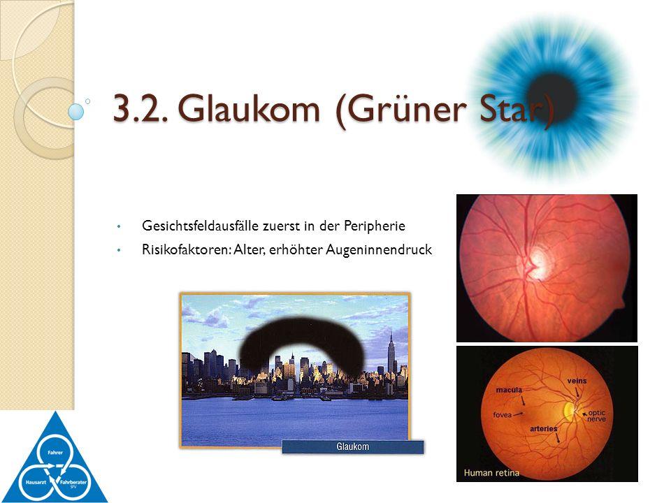 3.2. Glaukom (Grüner Star) Gesichtsfeldausfälle zuerst in der Peripherie.