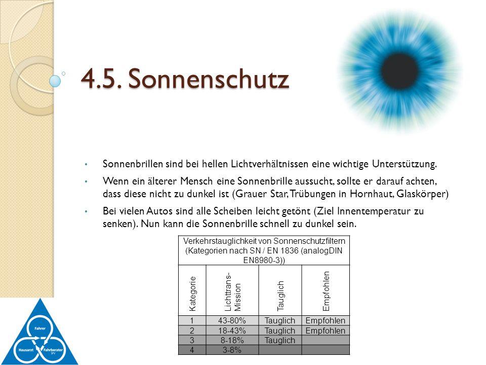 4.5. Sonnenschutz Sonnenbrillen sind bei hellen Lichtverhältnissen eine wichtige Unterstützung.