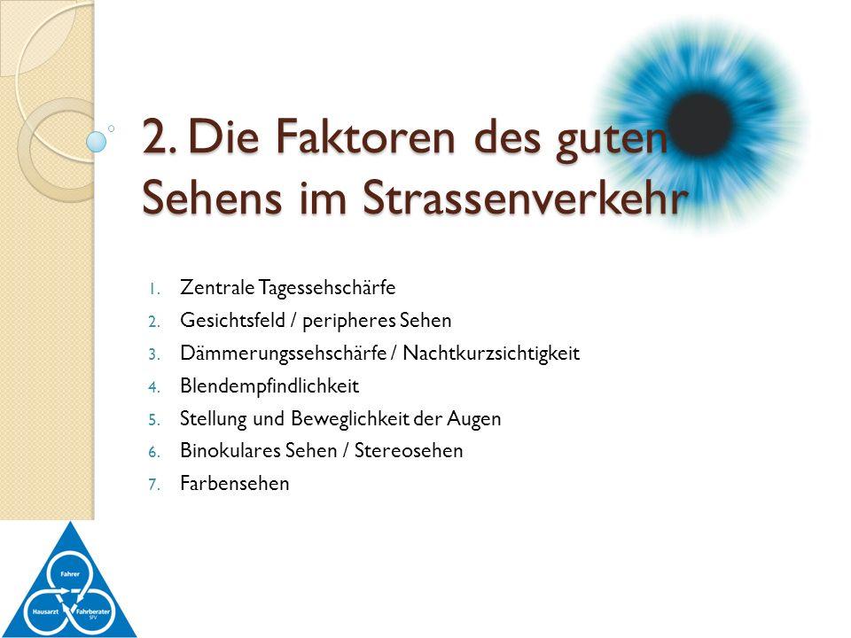 2. Die Faktoren des guten Sehens im Strassenverkehr
