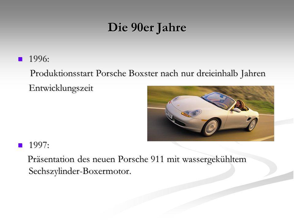 Die 90er Jahre 1996: Produktionsstart Porsche Boxster nach nur dreieinhalb Jahren Entwicklungszeit.
