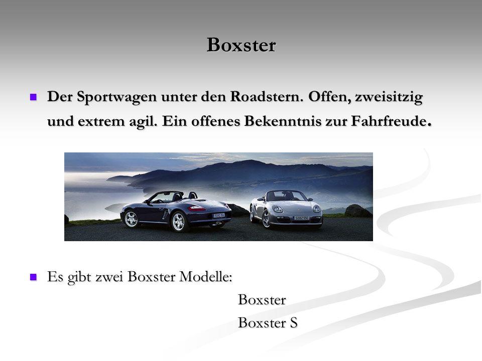 Boxster Der Sportwagen unter den Roadstern. Offen, zweisitzig und extrem agil. Ein offenes Bekenntnis zur Fahrfreude.
