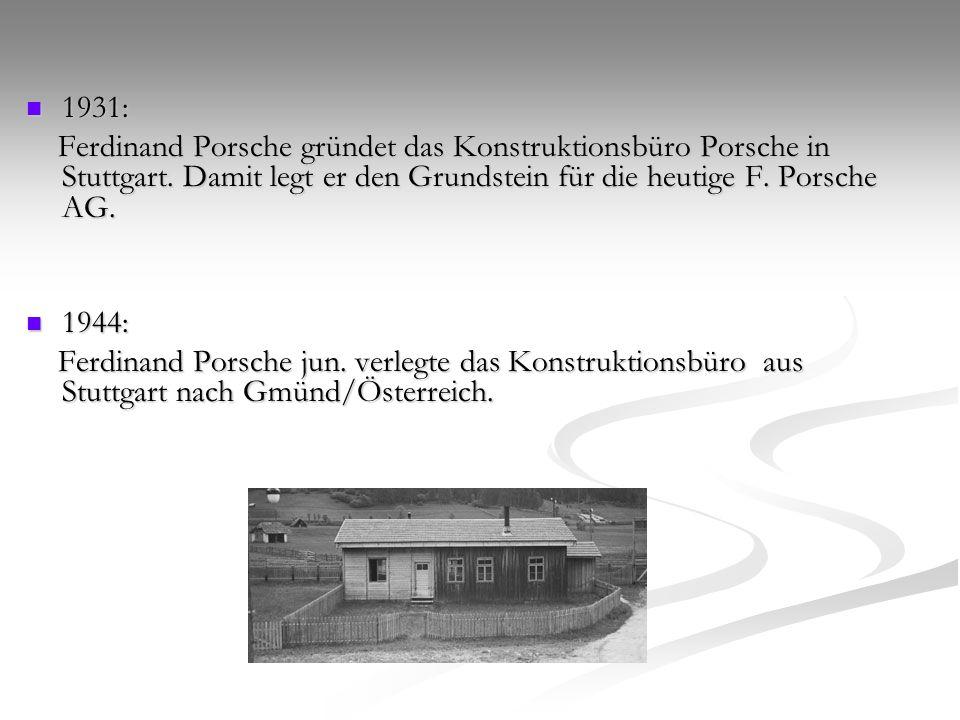 1931: Ferdinand Porsche gründet das Konstruktionsbüro Porsche in Stuttgart. Damit legt er den Grundstein für die heutige F. Porsche AG.