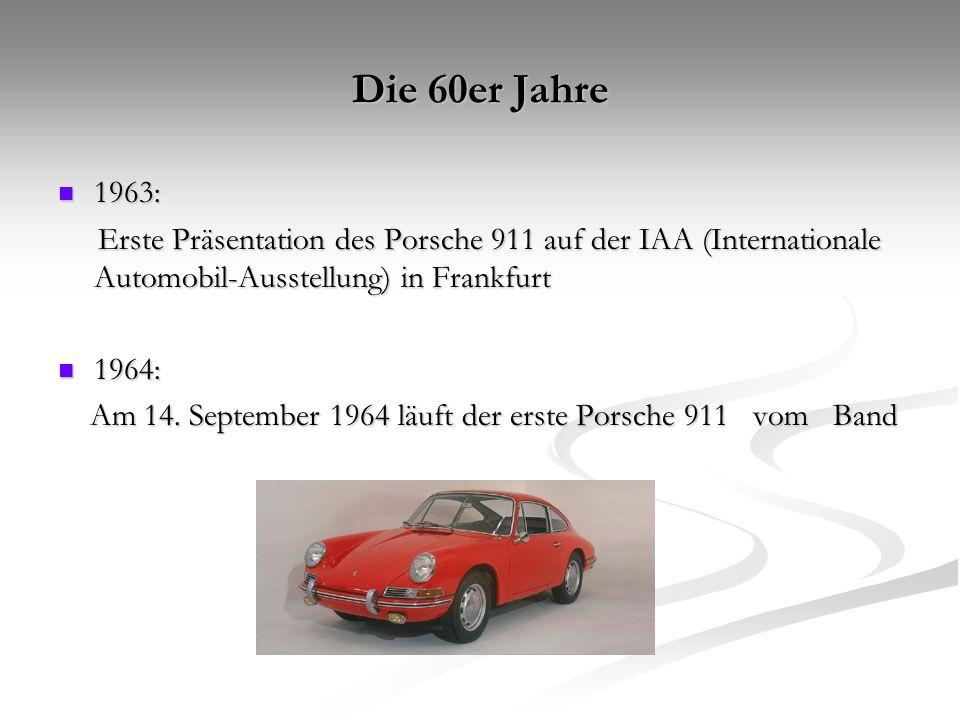 Die 60er Jahre 1963: Erste Präsentation des Porsche 911 auf der IAA (Internationale Automobil-Ausstellung) in Frankfurt.