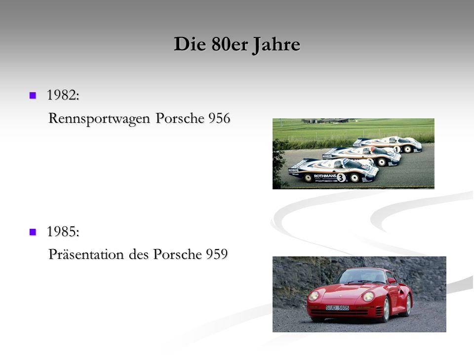 Die 80er Jahre 1982: Rennsportwagen Porsche 956 1985: