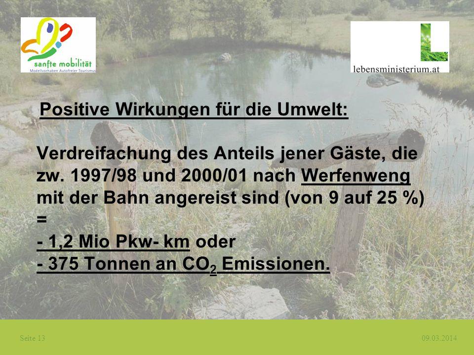 Positive Wirkungen für die Umwelt: Verdreifachung des Anteils jener Gäste, die zw.