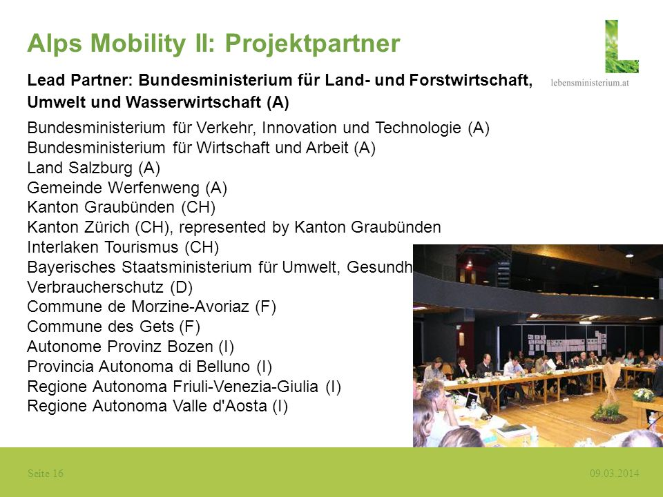 Alps Mobility II: Projektpartner