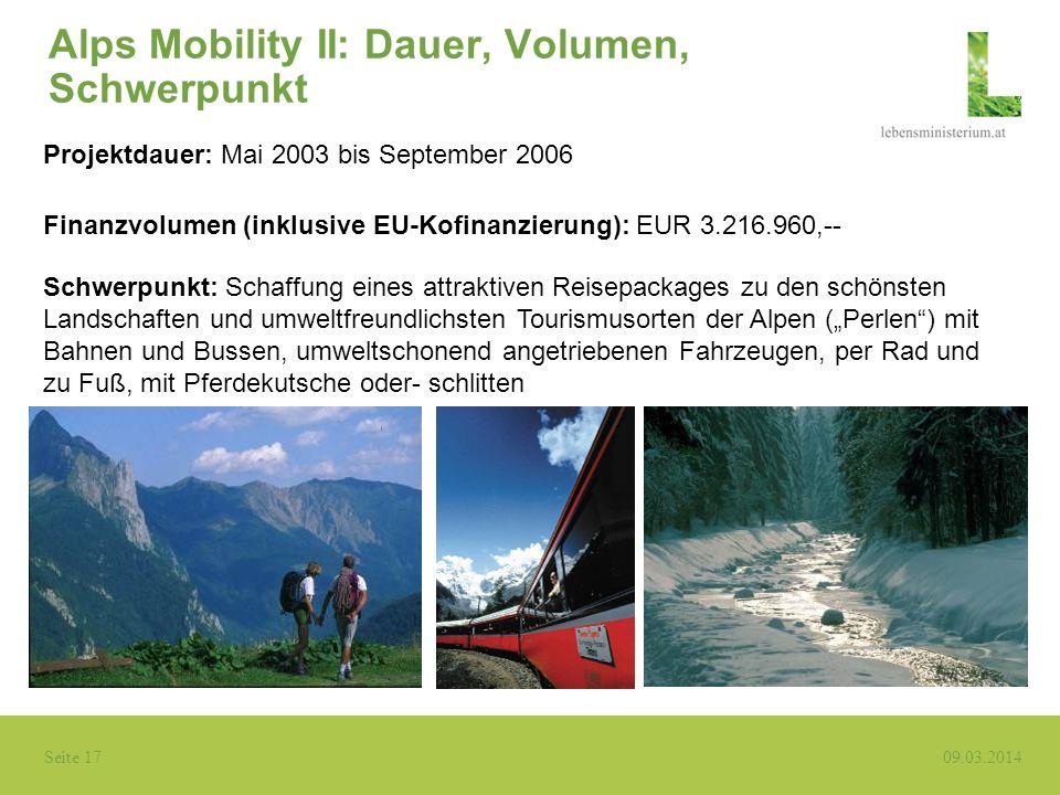 Alps Mobility II: Dauer, Volumen, Schwerpunkt