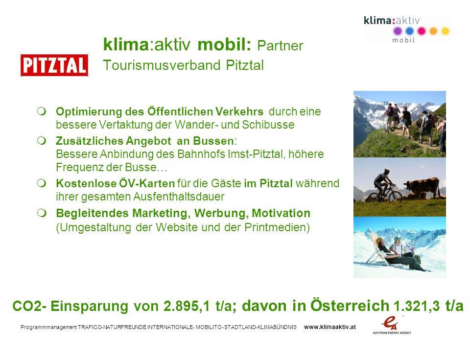 klima:aktiv mobil: Partner Tourismusverband Pitztal