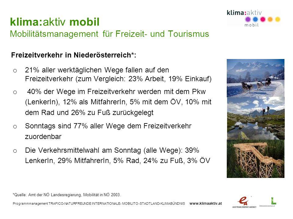 klima:aktiv mobil Mobilitätsmanagement für Freizeit- und Tourismus