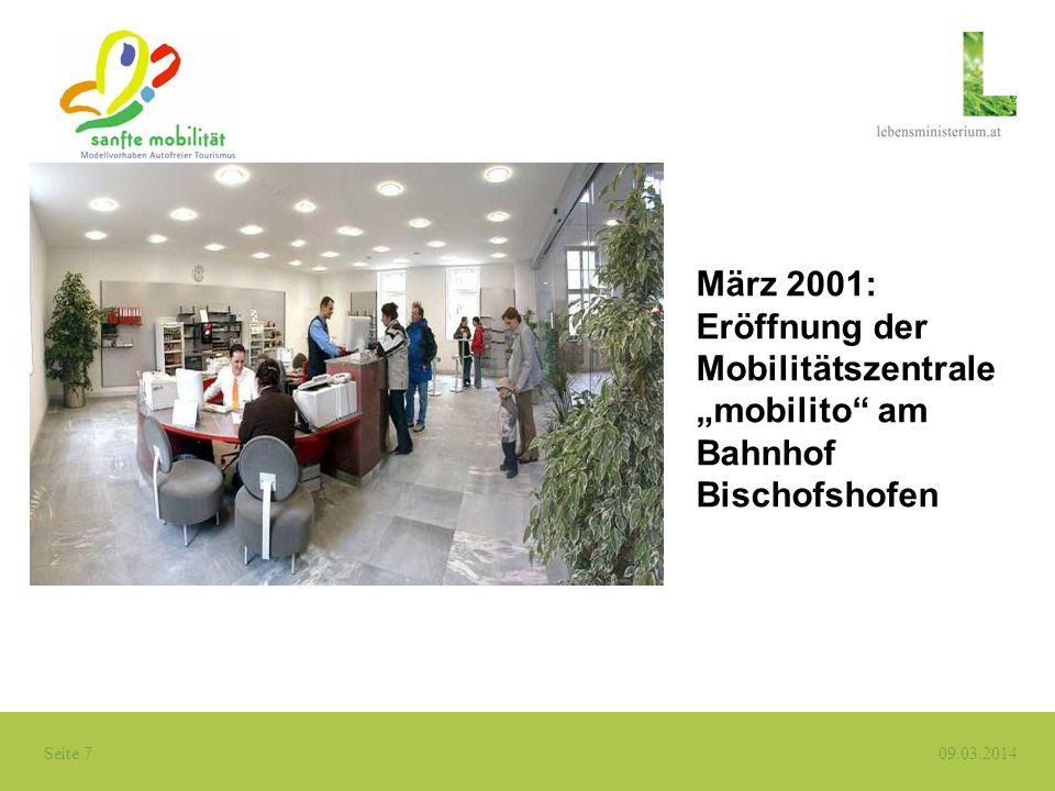 """März 2001: Eröffnung der Mobilitätszentrale """"mobilito am Bahnhof Bischofshofen"""
