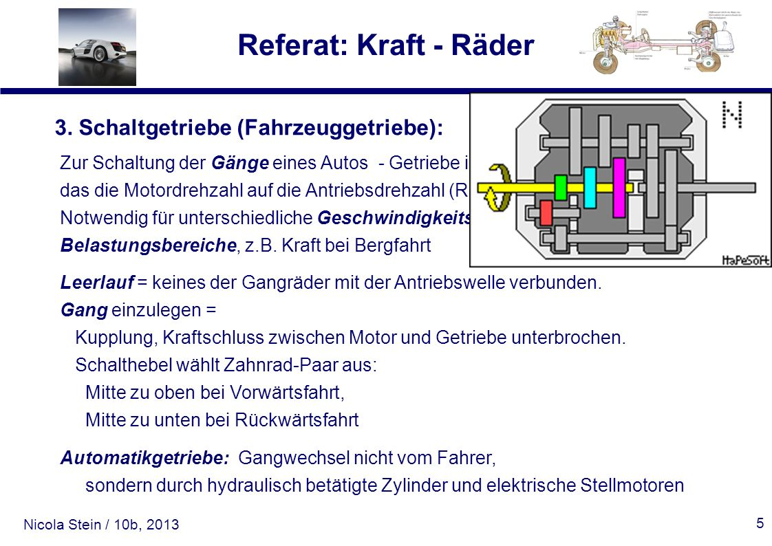 3. Schaltgetriebe (Fahrzeuggetriebe):
