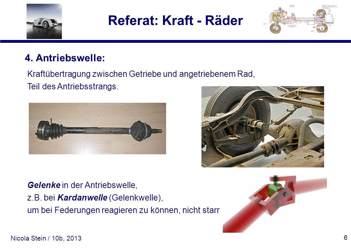 4. Antriebswelle: Kraftübertragung zwischen Getriebe und angetriebenem Rad, Teil des Antriebsstrangs.