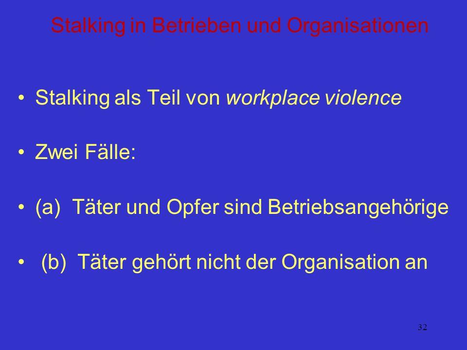 Stalking in Betrieben und Organisationen