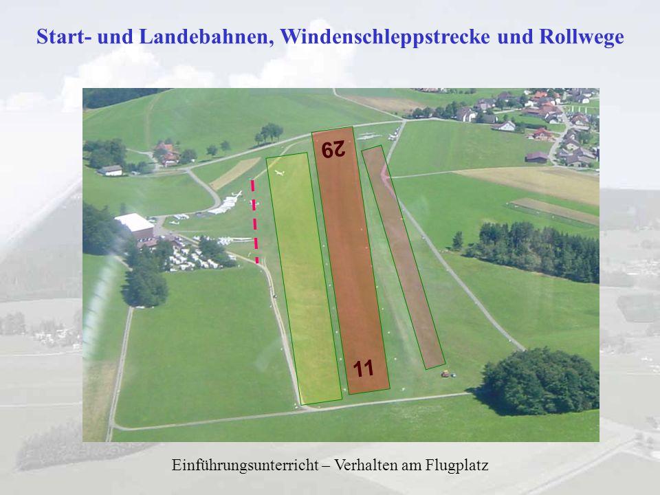 Start- und Landebahnen, Windenschleppstrecke und Rollwege