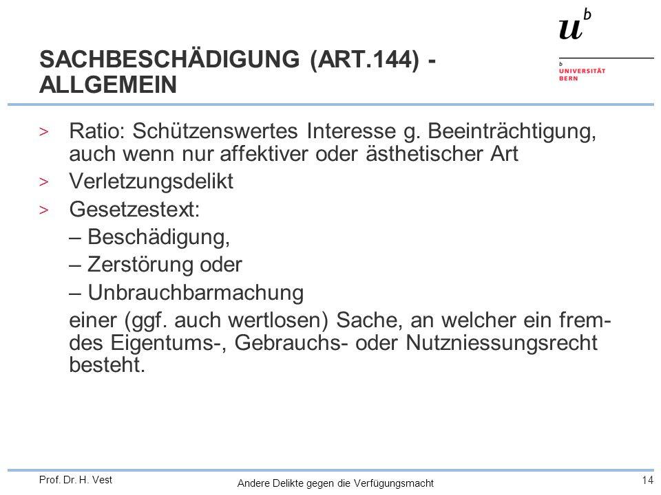 SACHBESCHÄDIGUNG (ART.144) - ALLGEMEIN