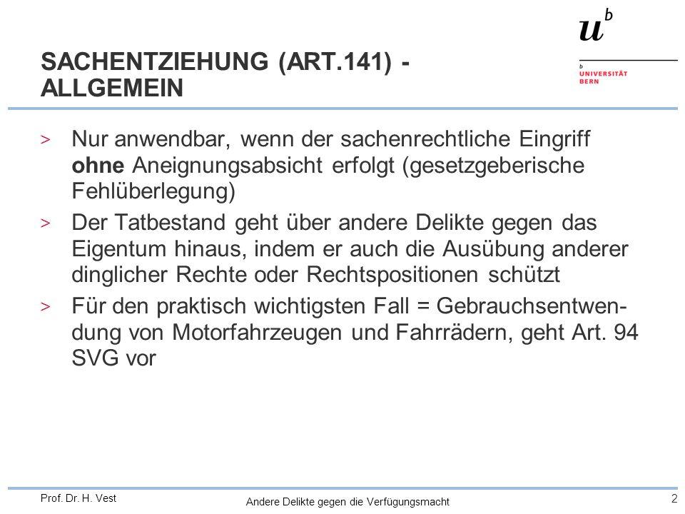 SACHENTZIEHUNG (ART.141) - ALLGEMEIN