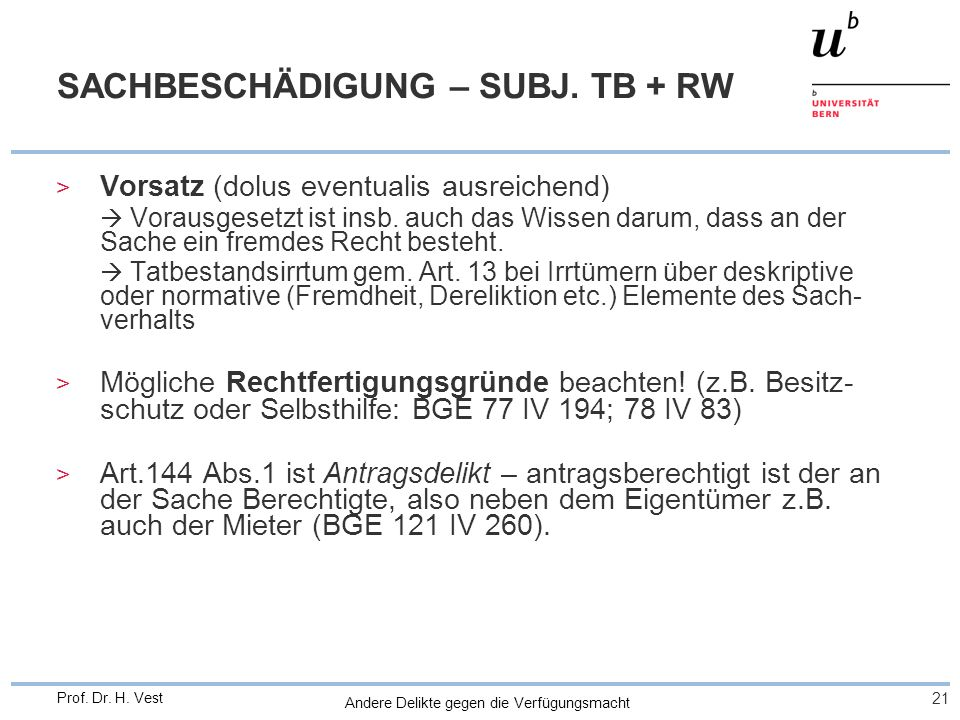 SACHBESCHÄDIGUNG – SUBJ. TB + RW
