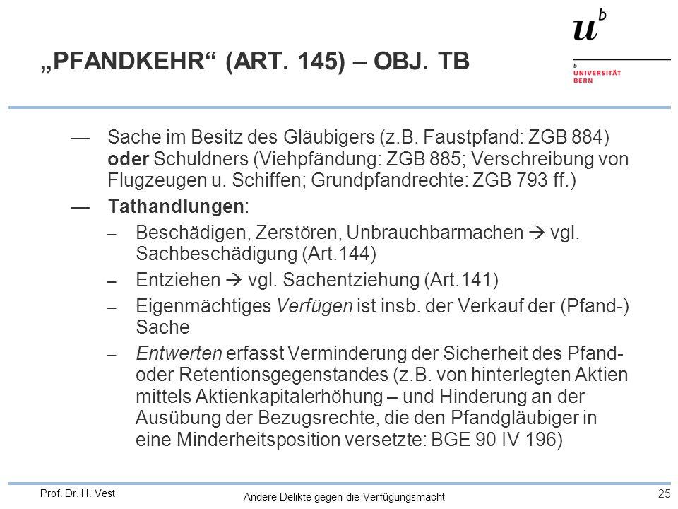"""""""PFANDKEHR (ART. 145) – OBJ. TB"""