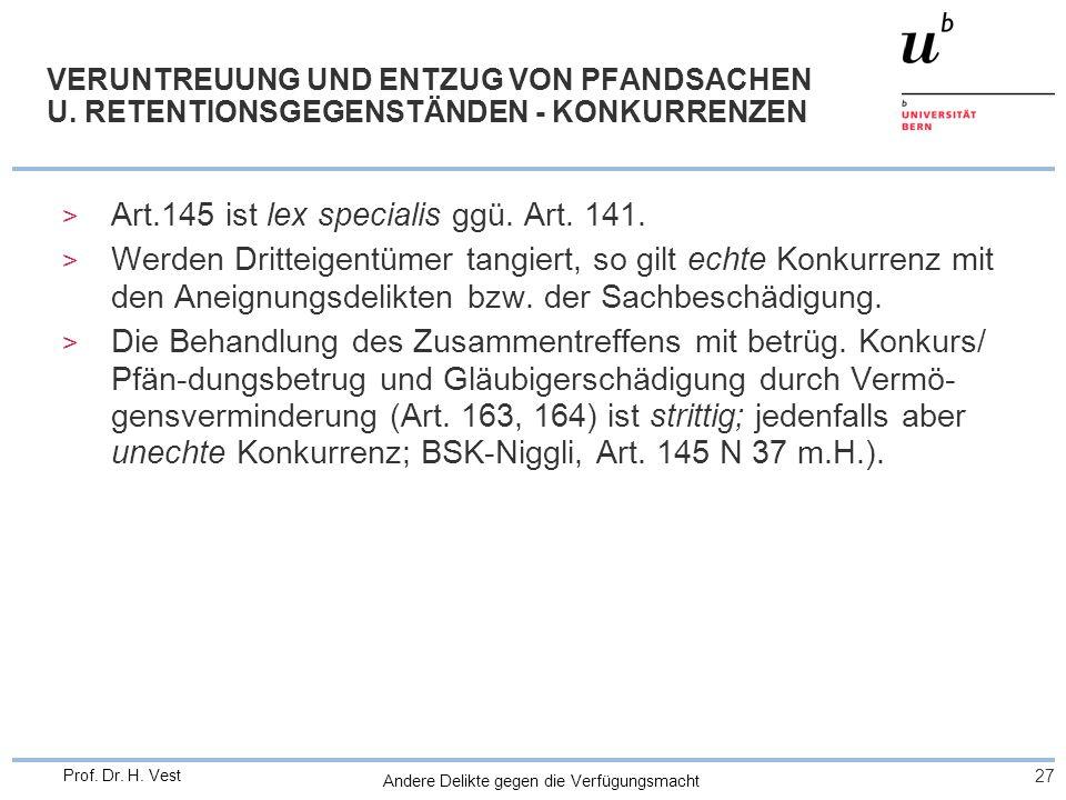 Art.145 ist lex specialis ggü. Art. 141.