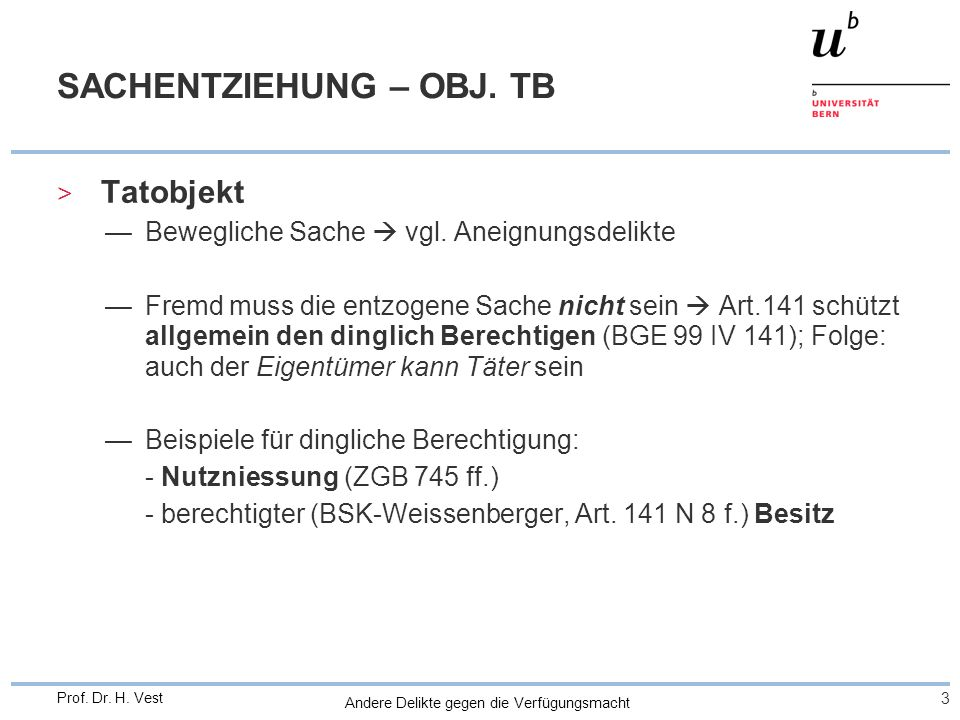 SACHENTZIEHUNG – OBJ. TB