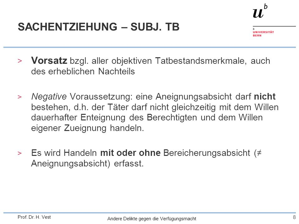 SACHENTZIEHUNG – SUBJ. TB