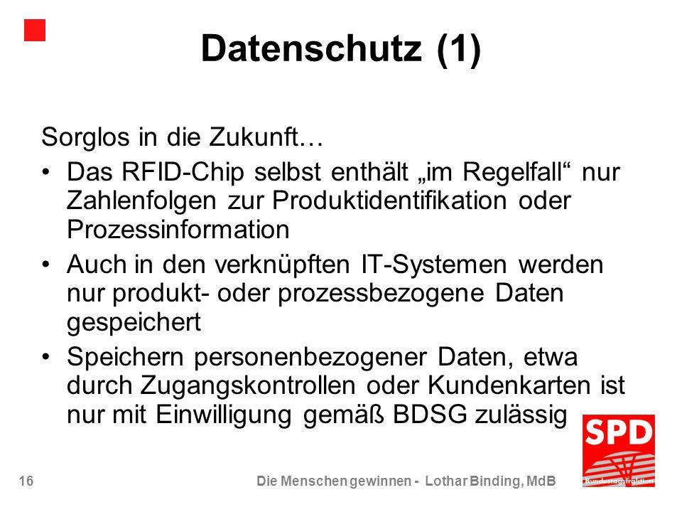 Datenschutz (1) Sorglos in die Zukunft…