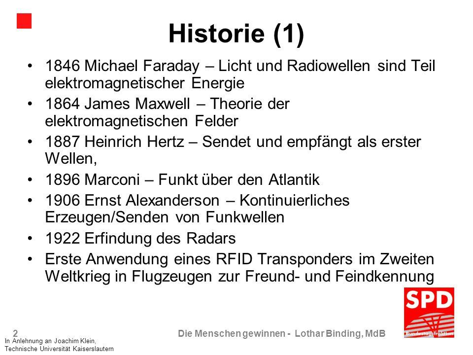 Historie (1) 1846 Michael Faraday – Licht und Radiowellen sind Teil elektromagnetischer Energie.