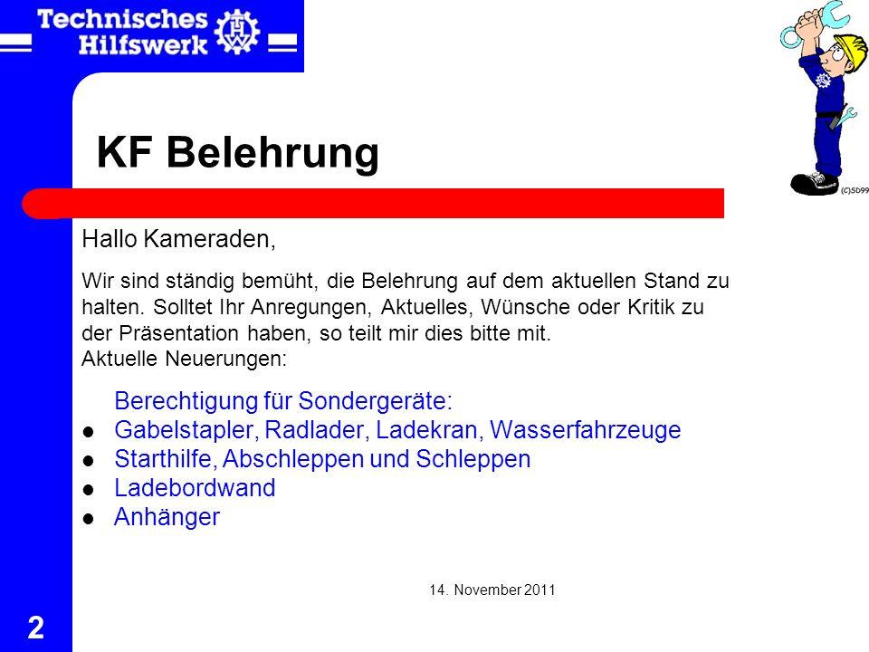 KF Belehrung Hallo Kameraden, Berechtigung für Sondergeräte: