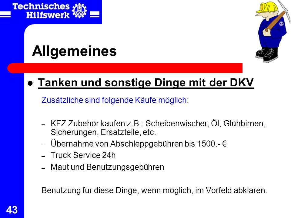 Allgemeines Tanken und sonstige Dinge mit der DKV