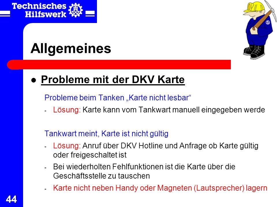 Allgemeines Probleme mit der DKV Karte