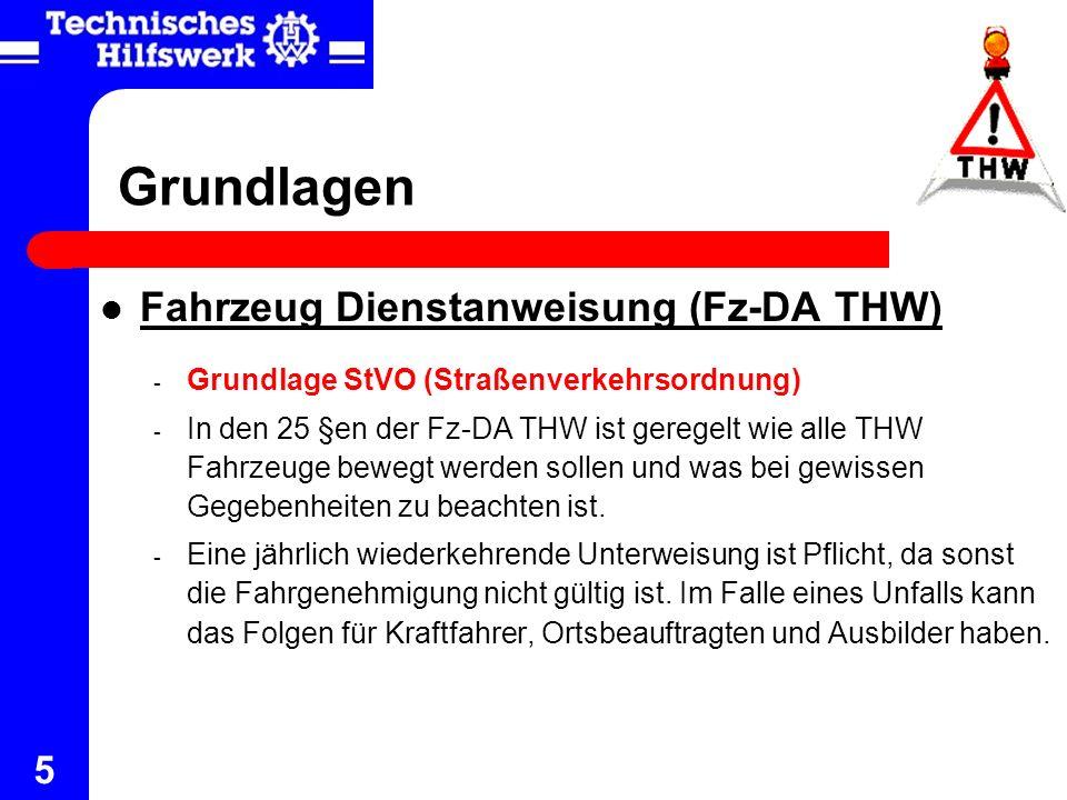 Grundlagen Fahrzeug Dienstanweisung (Fz-DA THW)