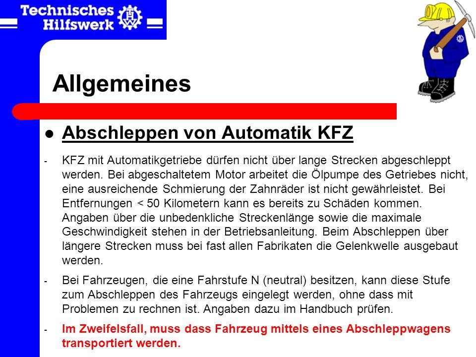 Allgemeines Abschleppen von Automatik KFZ