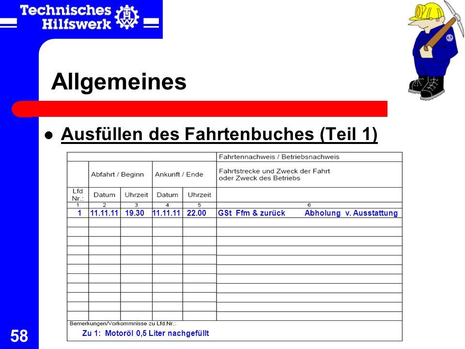 Allgemeines Ausfüllen des Fahrtenbuches (Teil 1) 1 11.11.11 19.30