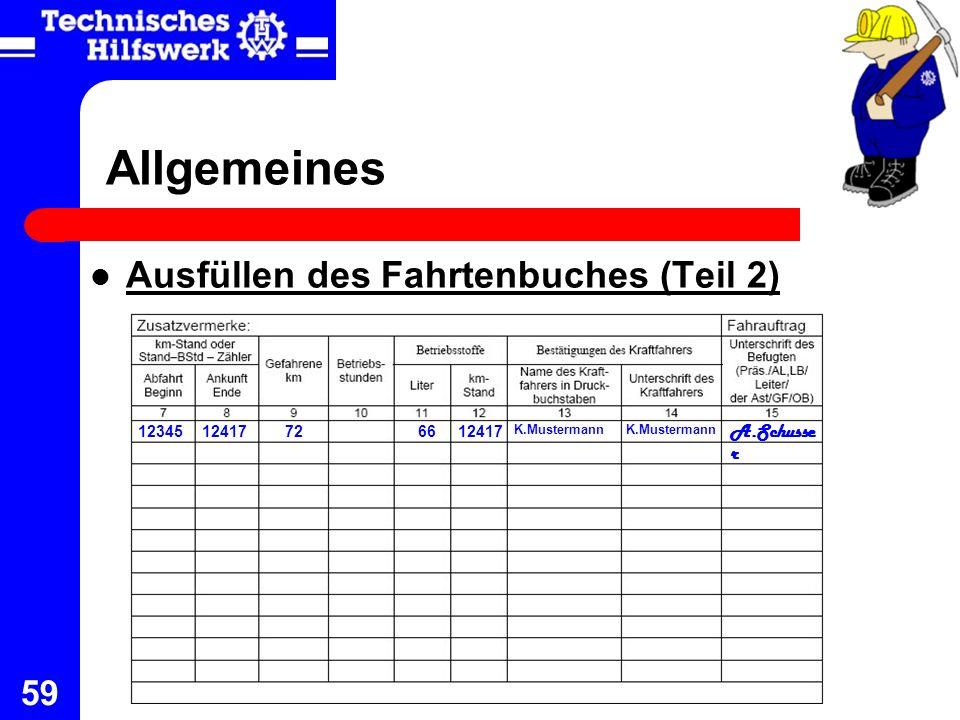 Allgemeines Ausfüllen des Fahrtenbuches (Teil 2) A.Schusser 12345
