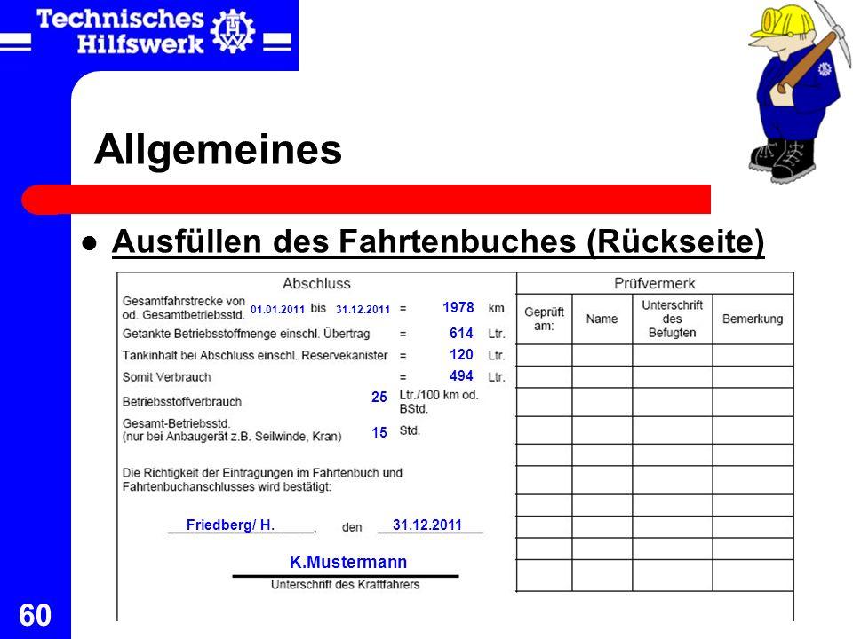 Allgemeines Ausfüllen des Fahrtenbuches (Rückseite) K.Mustermann 1978