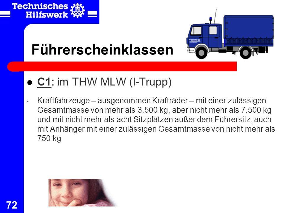 Führerscheinklassen C1: im THW MLW (I-Trupp)