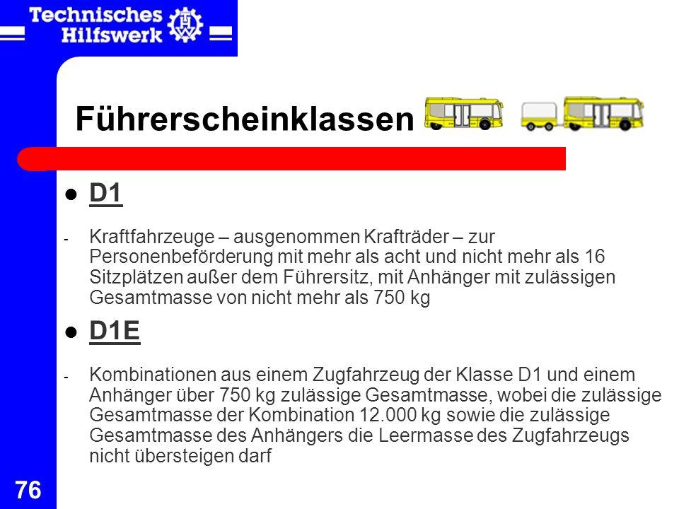 Führerscheinklassen D1 D1E