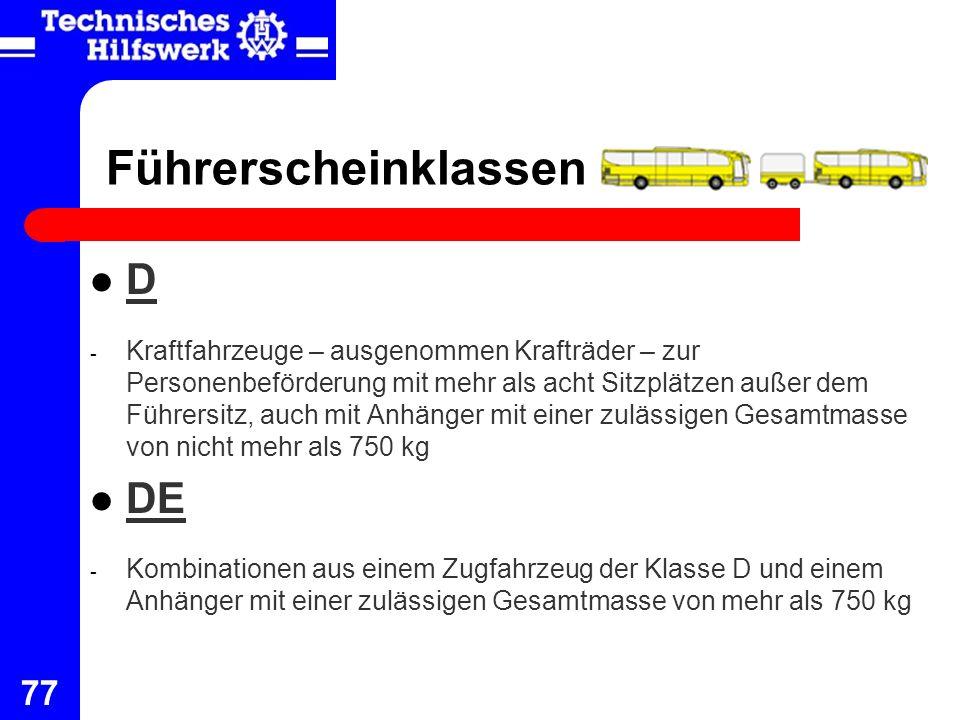 Führerscheinklassen D DE