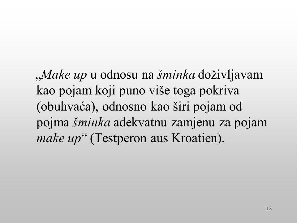 """""""Make up u odnosu na šminka doživljavam kao pojam koji puno više toga pokriva (obuhvaća), odnosno kao širi pojam od pojma šminka adekvatnu zamjenu za pojam make up (Testperon aus Kroatien)."""
