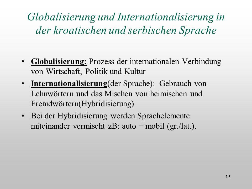 Globalisierung und Internationalisierung in der kroatischen und serbischen Sprache
