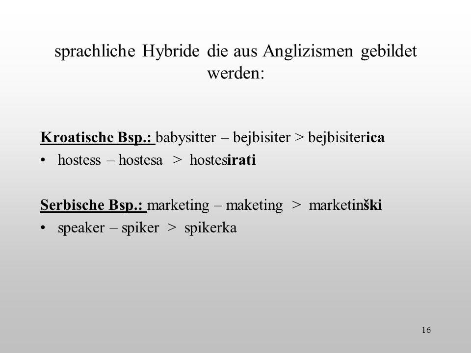 sprachliche Hybride die aus Anglizismen gebildet werden: