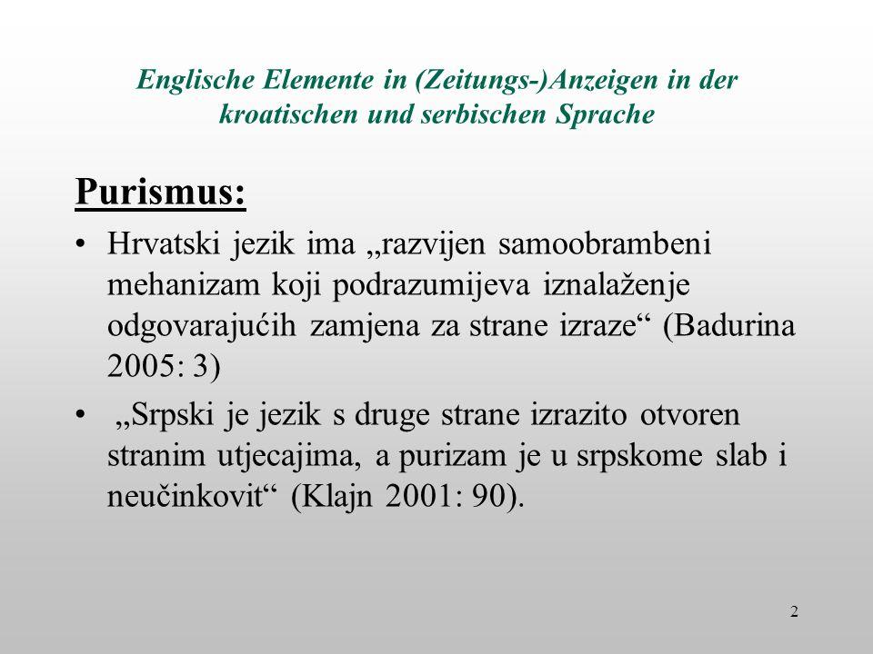 Englische Elemente in (Zeitungs-)Anzeigen in der kroatischen und serbischen Sprache