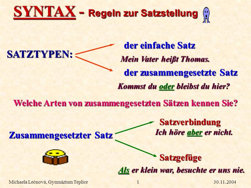 SYNTAX - Regeln zur Satzstellung