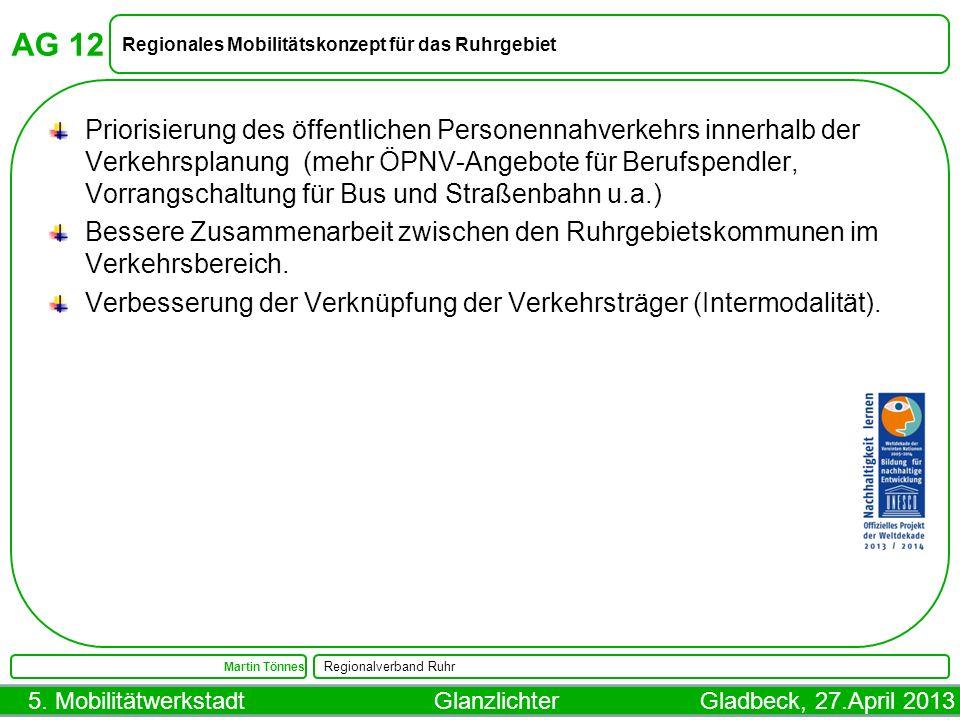 AG 12 Regionales Mobilitätskonzept für das Ruhrgebiet.